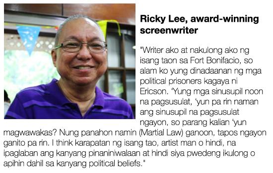 Ricky Lee on the imprisonment of former political detainee/poet-artist Ericson Acosta